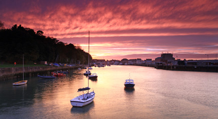 Poster Crimson Sunset Weymouth Harbour England