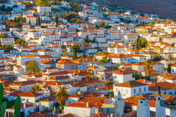Rooftops at Hydra island in Greece at Saronikos Gulf