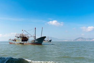 The sea and fishing boats