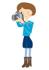 写真撮影する女の子のイラスト