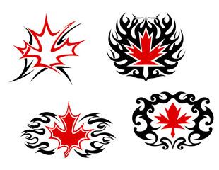 Maple leaf mascots and symbols