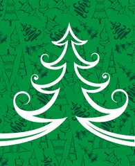 Christmas green tree  vector background
