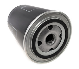 Oil filter on white background