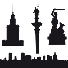 Silhouette of Warsaw in Poland