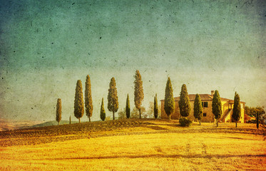 Wall Murals Orange vintage tuscan landscape