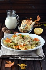 Farfalle with walnut - cheese sauce