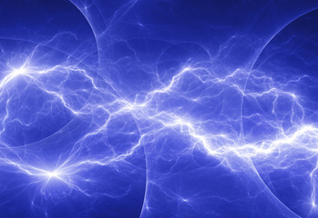 Blue fantasy lightning bold, abstract electrical background
