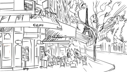 Fotorolgordijn Illustratie Parijs Street in paris -sketch illustration