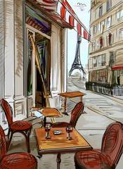 Poster de jardin Drawn Street cafe Street in paris - illustration