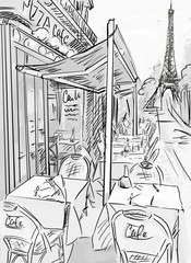 Fotorolgordijn Illustratie Parijs Paris street -sketch illustration