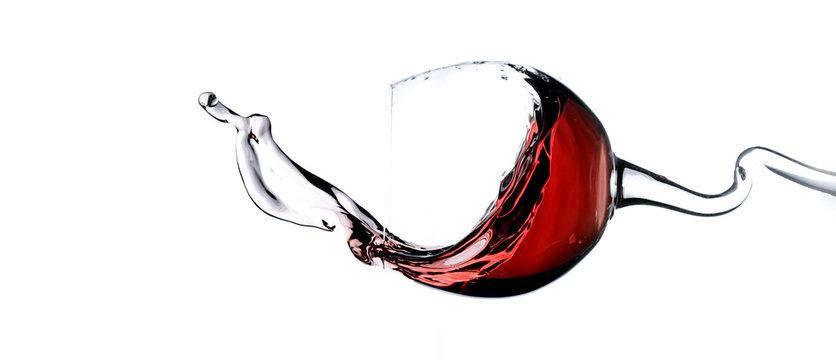 Splashing red wine panorama