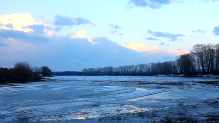 Wall Mural - spring lake landscape with melting ice