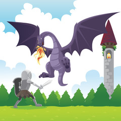 Spoed Fotobehang Ridders Knight fighting dragon