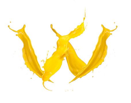 Yellow Liquid alphabet letter W