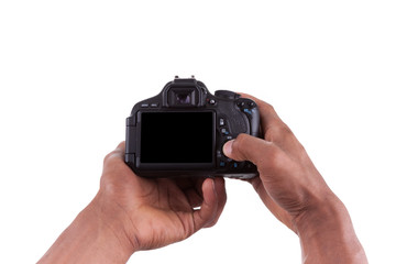 African american photographer holding a digital camera