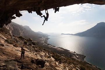 Rock climbers, Kalymnos Island, Greece