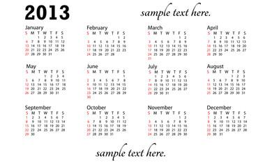 illustration of 2013 generic calendareifel tower
