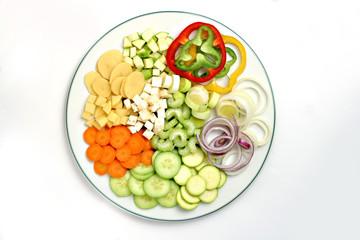 Sliced salad items