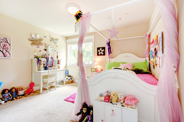 Baby girl room interior with white bed and pink curtains.