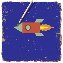 Fototapete - Drawing paint of cartoon rocket
