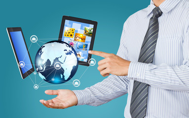 Wall Mural - Technology in the hands of businessmen