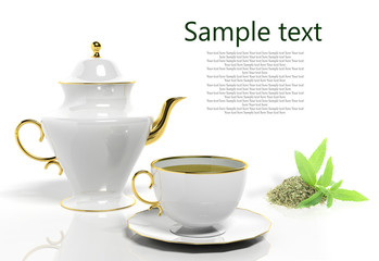 Teapot and teacup with lemon verbena