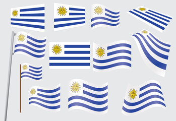 set of flags of Uruguay vector illustration