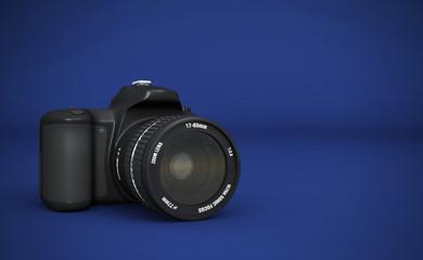 DSLR Vollformat - Digitale Spiegelreflexkamera Schwarz auf  Blau