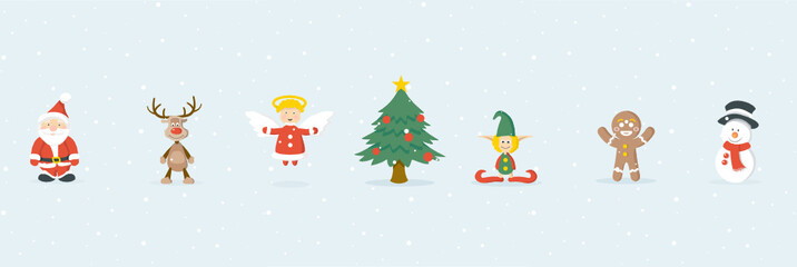 Wall Mural - Weihnachtsmann, Rudolph, Schneemann und Freunde, Hintergrund