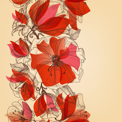 Poster Abstract Floral Red flowers seamless pattern in retro style