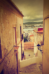 Fototapete - Architecture of old city of Ibiza, Spain. Retro photo