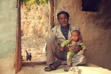 Indian poor father and son Wall mural