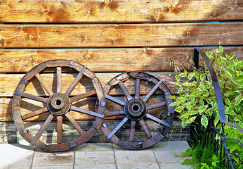 old wooden cart, gardening idea
