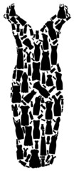 Set of dresses silhouette seamless pattern. vector illustration.