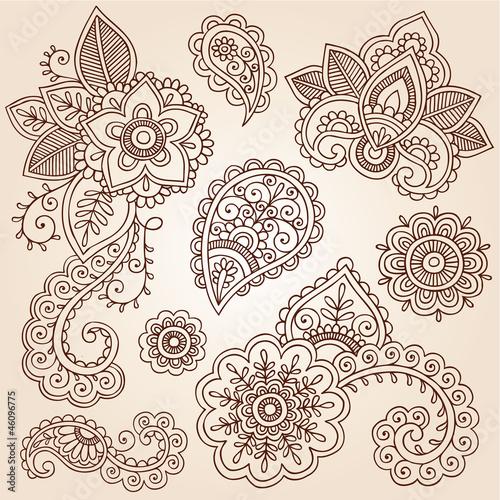 Henna Paisley Tattoo Mandala Doodles Vector Design Elements Stock Image And Royalty Free