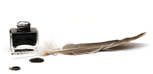 Feather pen set of abstract colour
