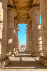 Colonnade of the Ramesseum in Luxor, Egypt