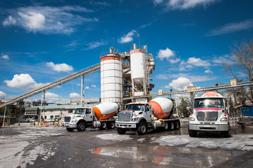 Mixer trucks in a concrete company