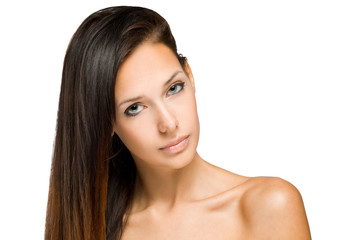 Beauty shot of young brunette woman.