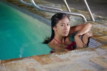 Asian beauty in pool