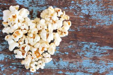 Heart popcorn on wood