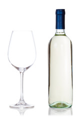 bottle of wine and glass isolated on white