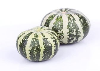 Green striped pumpkins isolated on white  background