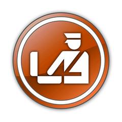 "Orange Glossy Button ""Customs Symbol"""