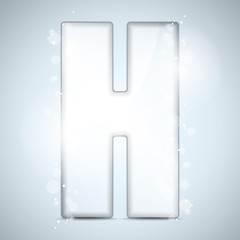 Alphabet Glass Shiny with Sparkles on Background Letter H