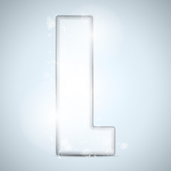 Alphabet Glass Shiny with Sparkles on Background Letter L