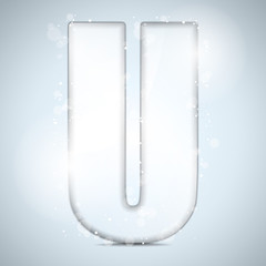Alphabet Glass Shiny with Sparkles on Background Letter U