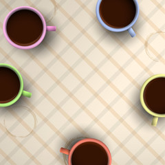 Colorful cups of coffee