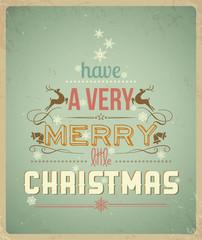 Fond de hotte en verre imprimé Affiche vintage Typography Christmas Greeting Card.