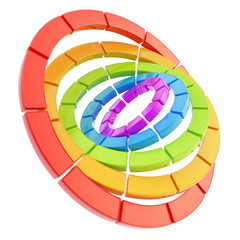 Segmented circle composition as abstract background